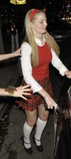 This is an unbelievably unflattering picture of Jennifer Morrison, who went as Cher Horowitz, albeit not in the signature yellow plaid skirt set, so I have mixed feelings.